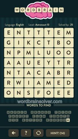WORDBRAIN ASTRONAUT LEVEL 13
