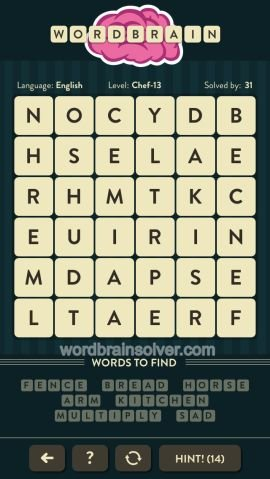 WORDBRAIN CHEF LEVEL 13