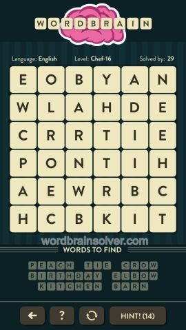 WORDBRAIN CHEF LEVEL 16
