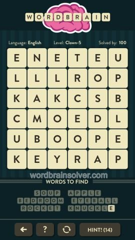 WORDBRAIN CLOWN LEVEL 5