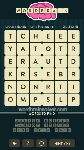 WORDBRAIN POLICEMAN LEVEL 16