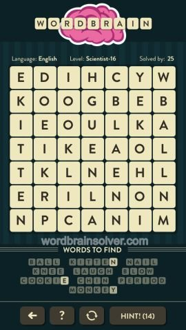 WORDBRAIN SCIENTST LEVEL 16