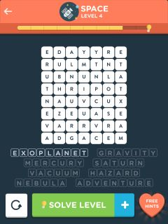 Wordbrain themes space level 1 4